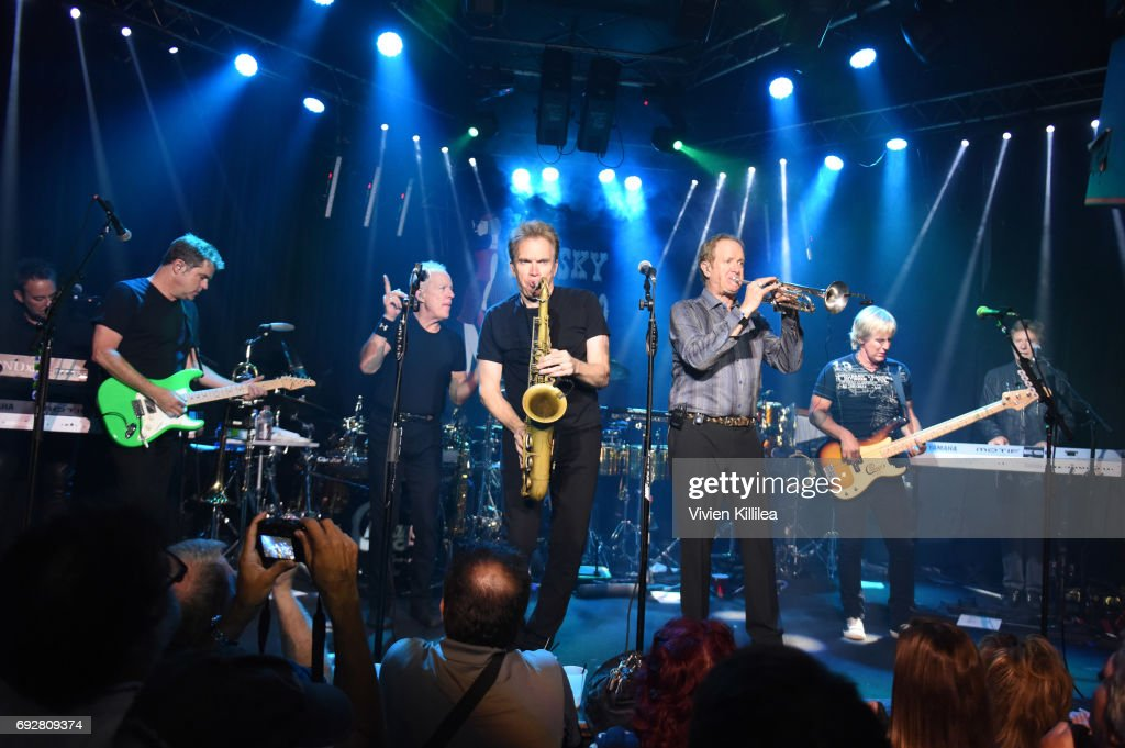 Lou Pardini, Keith Howland, Walfredo Reyes Jr, James Pankow, Ray Herrmann, Tris Imboden, Lee Loughnane, Jeff Coffey and Robert Lamm of Chicago attend Chicago Performs For SiriusXM Live From Whisky a Go Go on June 5, 2017 in West Hollywood, California.