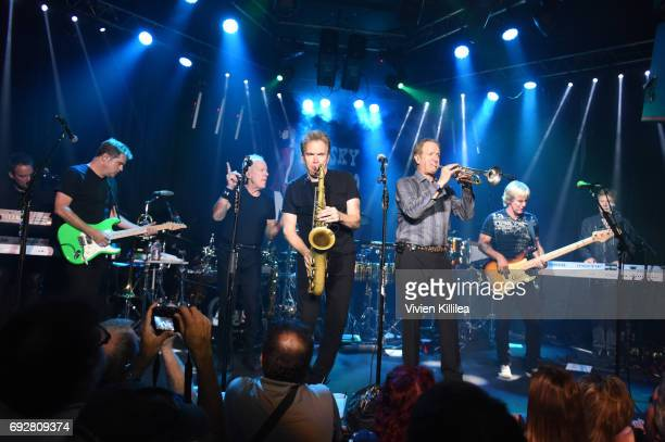Lou Pardini Keith Howland Walfredo Reyes Jr James Pankow Ray Herrmann Tris Imboden Lee Loughnane Jeff Coffey and Robert Lamm of Chicago attend...