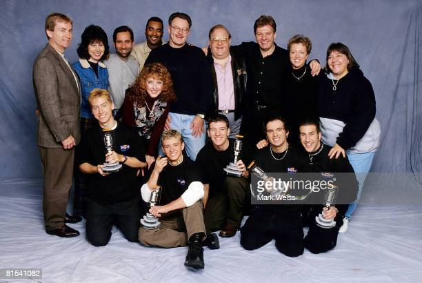 Lou Pearlman Johnny Wright with families of N'Sync posing with Lance Bass Justin Timberlake JC Chasez Chris Kirkpatrick and Joey Fatone seen in Miami...