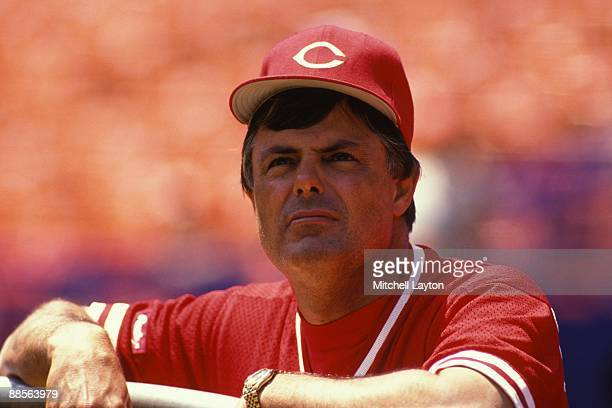 Lou Piniella, manager of the Cincinnati Reds, looks on before a baseball game against the New York Mets on July 1, 1999 at Shea Stadium in New York,...
