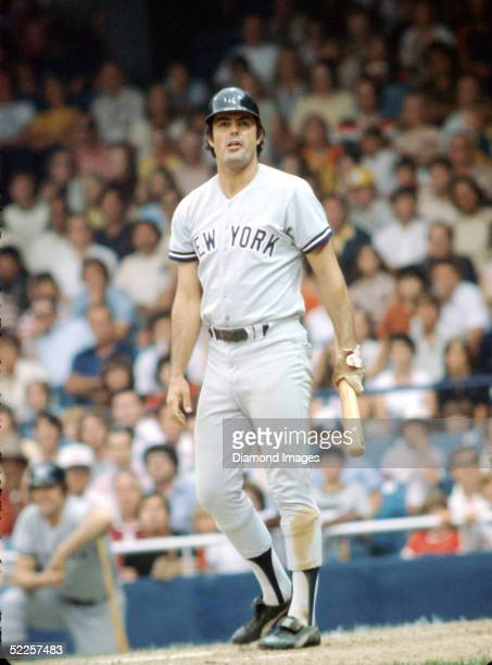 Lou Piniella of the New York Yankees waits to take his stance in the batters box during a game circa 197881 against the Cleveland Indians at...