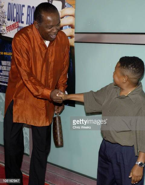 """Lou Rawls and Emmanuel Lewis during World Premiere of """"Dickie Roberts: Former Child Star"""" at Cinerama Dome in Hollywood, California, United States."""