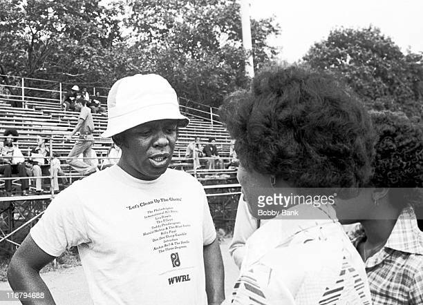 """Lou Rawls during WWRL Radio Station vs CBS Philadelphia International's """"Let's Clean Up The Ghetto"""" Team - May 17, 1977 at Brooklyn College in..."""