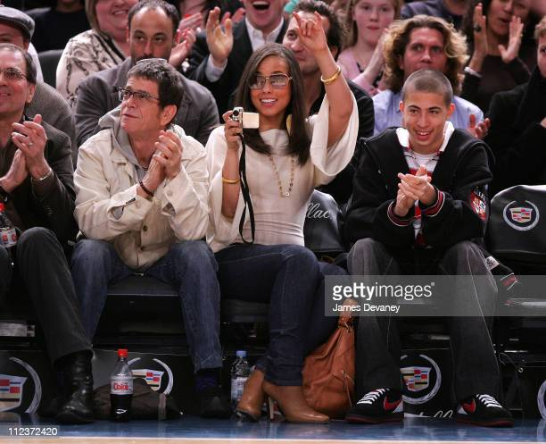 Lou Reed Alicia Keys and guest during Celebrities Attend Minnesota Timberwolves vs New York Knicks Game April 6 2007 at Madison Square Garden in New...