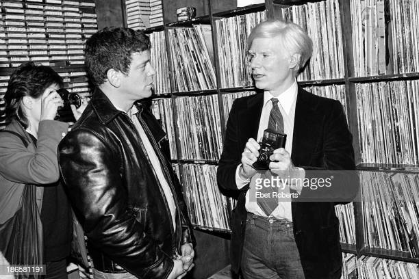 Lou Reed and Andy Warhol at WPIX Radio in New York City on September 231979