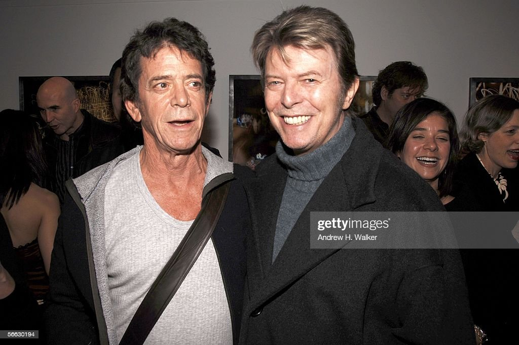 Lou Reed (L) and David Bowie (R) attend the opening of Lou Reed NY photography exhibit at the Gallery at Hermes on January 19, 2006 in New York City.