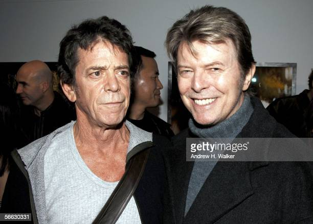 Lou Reed and David Bowie attend the opening of Lou Reed NY photography exhibit at the Gallery at Hermes on January 19 2006 in New York City