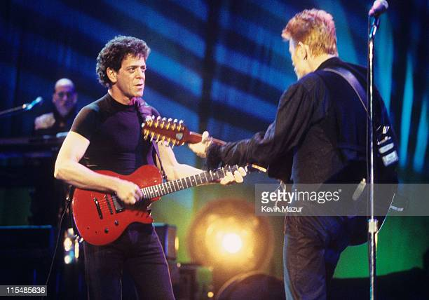 Lou Reed and David Bowie during David Bowie's 50th Birthday Celebration Concert at Madison Square Garden in New York City New York United States