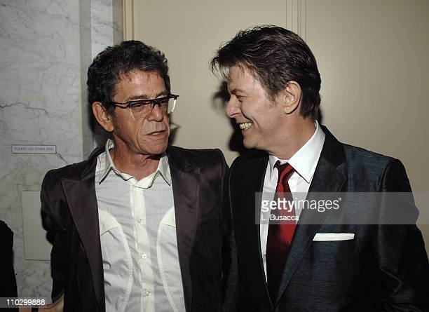 Lou Reed and David Bowie during Lou Reed is Awarded George Arents Pioneer Medal Syracuse University's Highest Alumni Award at W New York Union Square...