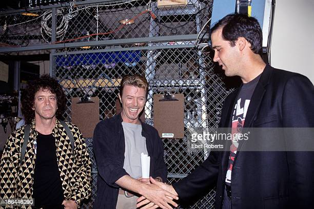 Lou Reed David Bowie and Krist Novoselic of Nirvana at CM J backstage at Alice Tully Hall in New York City on September 81995