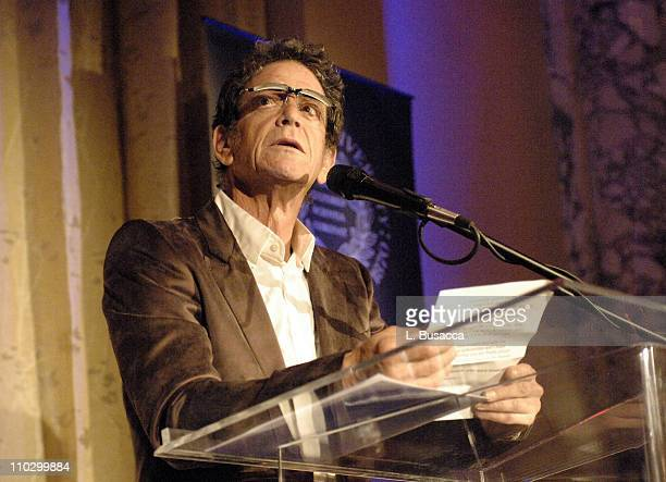 Lou Reed during Lou Reed is Awarded George Arents Pioneer Medal Syracuse University's Highest Alumni Award at W New York Union Square in New York...