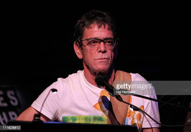 Lou Reed during Pete Townshend of The Who and Rachel Fuller Hold Attic Jam Show at Joe's Pub February 20 2007 at Joe's Pub in New York City New York...