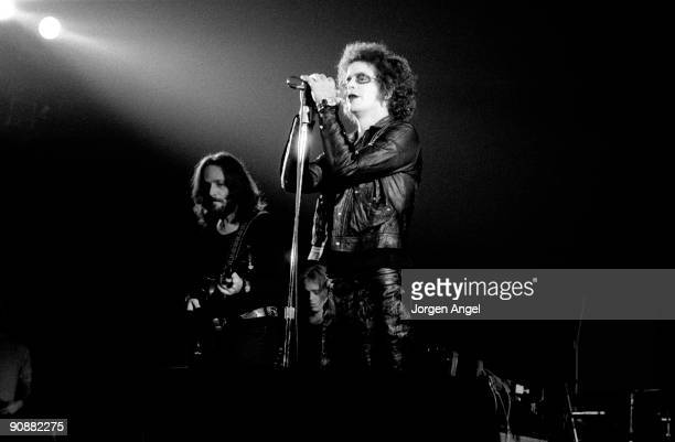 Lou Reed performs on stage with Dick Wagner in August 1973 in Copenhagen Denmark