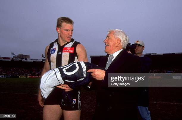 Lou Richards and Nathan Buckley of Collingwood at the last game at Victoria Park in Melbourne during the 1999 AFL Season in Australia Mandatory...