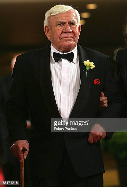 Lou Richards arrives for the 24th Sport Australia Hall Of Fame Dinner and Induction at Crown Casino and Entertainment Complex on October 8 2008 in...