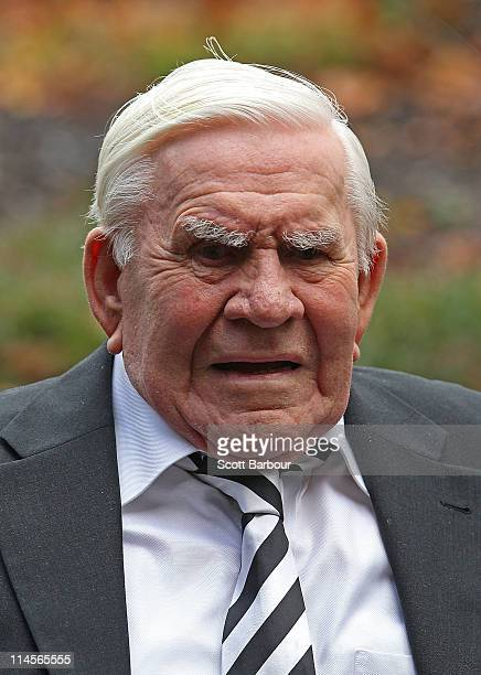 Lou Richards former Collingwood player arrives during the funeral for former Geelong Cats VFL player coach and media personality Bob Davis at St...