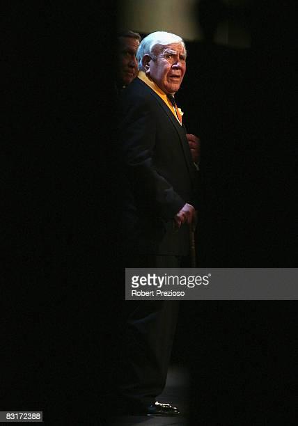 Lou Richards is inducted during the 24th Sport Australia Hall Of Fame Dinner and Induction at Crown Casino and Entertainment Complex on October 8...