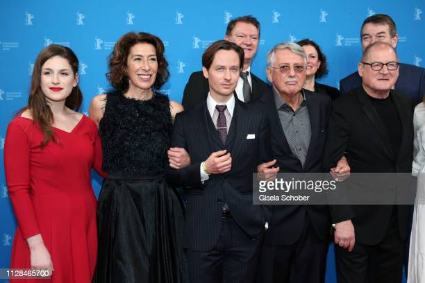 Lou Strenger Adele Neuhauser Tom Schilling Heinrich Breloer and Burghart Klaußner attend the 'Brecht' premiere during the 69th Berlinale...