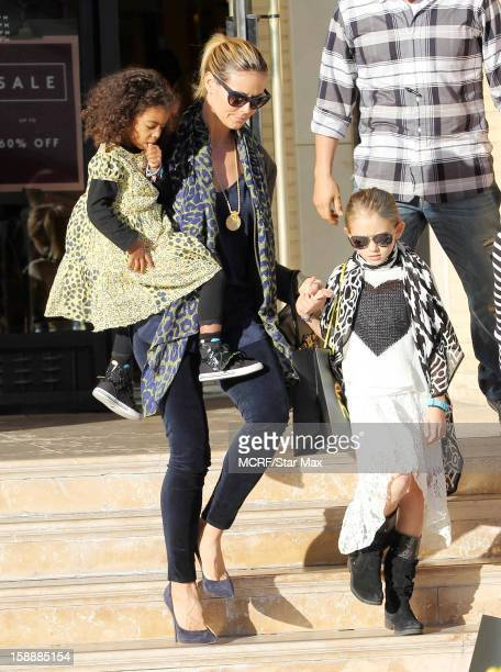 Lou Sulola Samuel, Heidi Klum and Leni Samuel as seen on January 2, 2013 in Los Angeles, California.