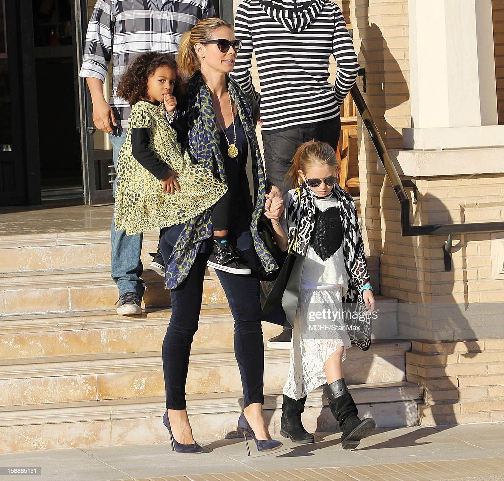 Lou Sulola Samuel, Heidi Klum and Leni Samuel as seen on January 2, 2013 in Los Angeles, California.