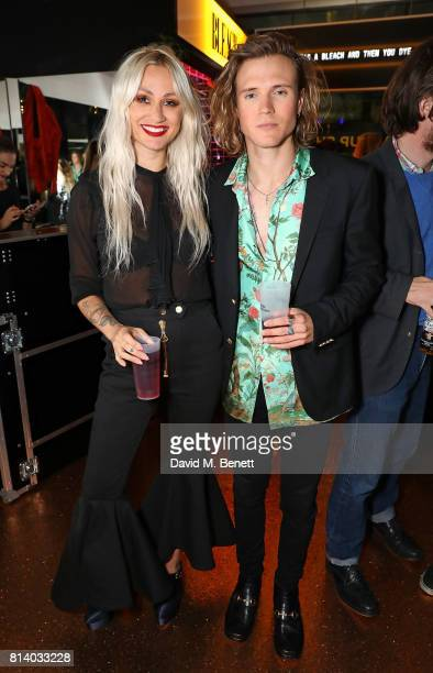 Lou Teasdale and Dougie Poynter attend the launch of Bleach London's new makeup and hair collections on July 13 2017 in London England