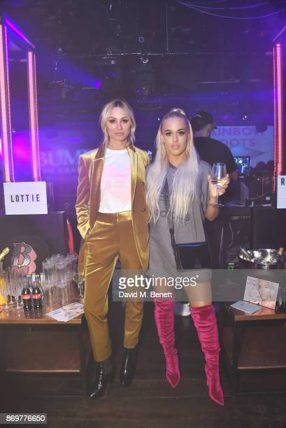 Lou Teasdale and Lottie Tomlinson arrive at Lottie Tomlinson's 'Rainbow Roots' book launch at Tape London on November 2 2017 in London England