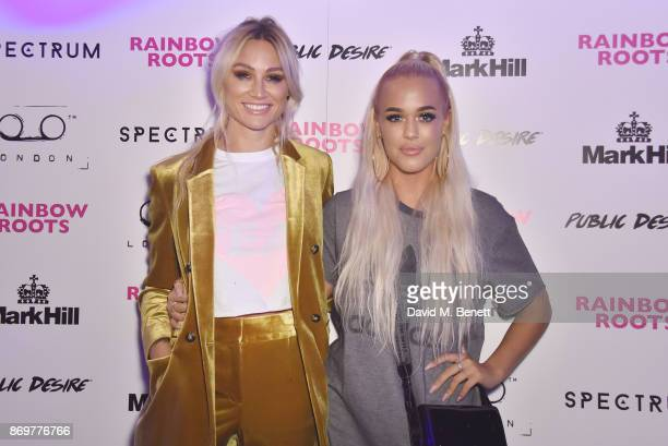 Lou Teasdale and Lottie Tomlinson arrive at Lottie Tomlinson's Rainbow Roots book launch at Tape London on November 2 2017 in London England