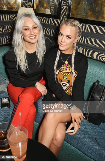 Lou Teasdale and Lottie Tomlinson attend Maybelline's Bring On The Night London Fashion Week party at The Scotch of St James on February 18 2017 in...