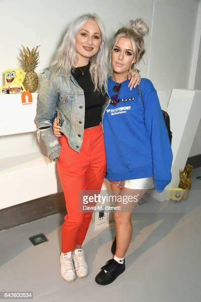 Lou Teasdale and Lottie Tomlinson attends Nickelodeon's SpongeBob Gold launch party at LFW in collaboration with the LFW Design collective Pete...