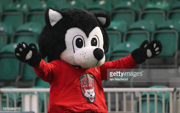 Lou the Lyon mascot is seen prior to the Champions Cup match between Glasgow Warriors and Lyon Olympique Universitaire at Scotstoun Stadium on...