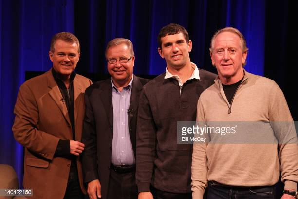 "Lou Tilley, Ron Jaworski, Andrew Luck and Archie Manning attend the filming of ""Stars of Maxwell Football Club Discussion Table"" at Harrah's Resort..."