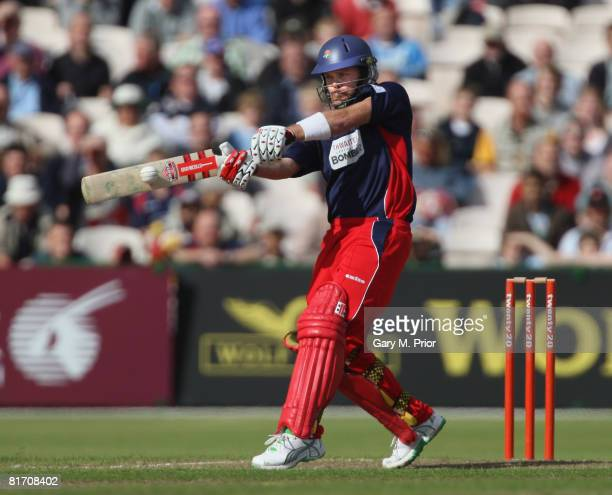 Lou Vincent of Lancashire hits out on his way to a half century during the Twenty20 Cup match between Lancashire and Nottinghamshire at Old Trafford...