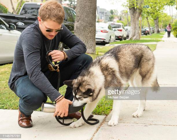 Lou Wegner with Luna the Husky and Kronez Artisan Pet Products at Kids Against Animal Cruelty visits TAP The Artists Project on April 28 2019 in Los...