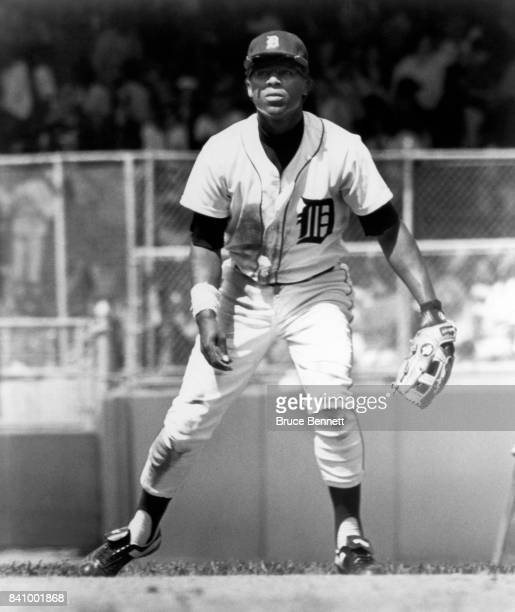 Lou Whitaker of the Detroit Tigers defends during an MLB game circa 1982 at Tiger Stadium in Detroit Michigan