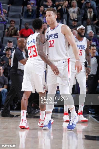 Lou Williams and Blake Griffin of the Los Angeles Clippers face off against the Sacramento Kings on January 11 2018 at Golden 1 Center in Sacramento...
