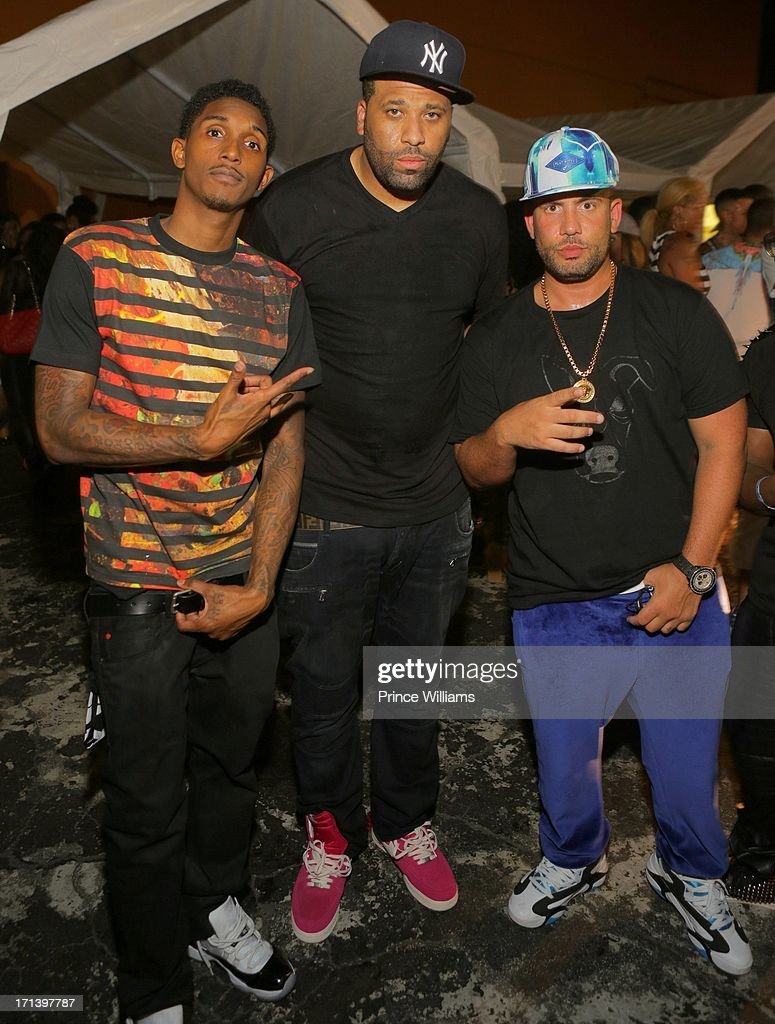 Lou Williams, DJ Don Cannon and DJ Drama attend the Birthday Bash Afterparty featuring Meek Mill, DJ Drama and French Montana at Mansion Elan on June 15, 2013 in Atlanta, Georgia.