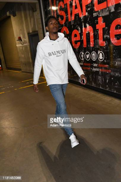 Lou Williams of the LA Clippers arrives to the game against the Chicago Bulls on March 15 2019 at STAPLES Center in Los Angeles California NOTE TO...