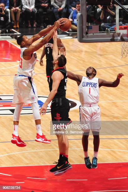 Lou Williams of the LA Clippers dunks the ball during the game against the Houston Rockets on January 15 2018 at STAPLES Center in Los Angeles...
