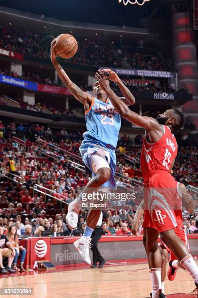 Lou Williams of the LA Clippers goes to the basket against the Houston Rockets on March 15 2018 at the Toyota Center in Houston Texas NOTE TO USER...