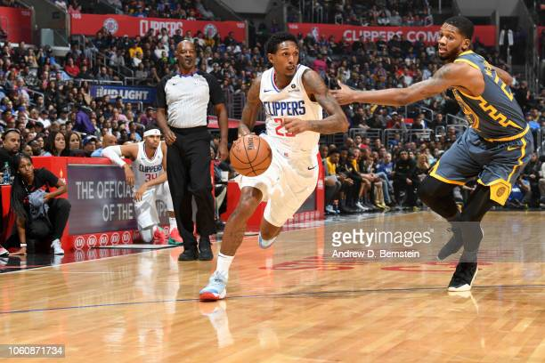 Lou Williams of the LA Clippers handles the ball against the Golden State Warriors on November 12 2018 at STAPLES Center in Los Angeles California...