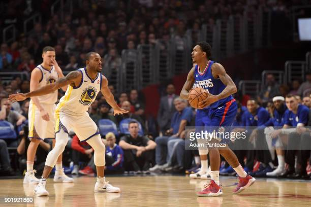 Lou Williams of the LA Clippers handles the ball against the Golden State Warriors on January 6 2018 at STAPLES Center in Los Angeles California NOTE...