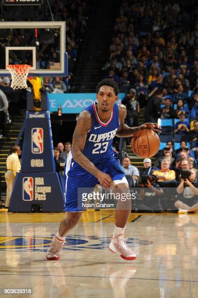 Lou Williams of the LA Clippers handles the ball against the Golden State Warriors on January 10 2018 at ORACLE Arena in Oakland California NOTE TO...