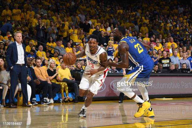 Lou Williams of the LA Clippers handles the ball against the Golden State Warriors during Game Five of Round One of the 2019 NBA Playoffs on April 24...