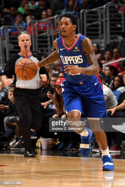 Lou Williams of the LA Clippers handles the ball against the Houston Rockets on October 21 2018 at Staples Center in Los Angeles California NOTE TO...