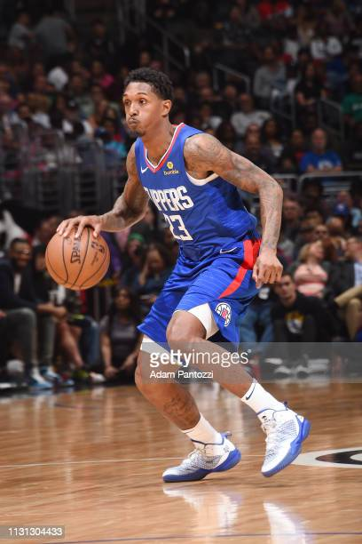 Lou Williams of the LA Clippers handles the ball during the game against the Brooklyn Nets on March 17 2019 at STAPLES Center in Los Angeles...