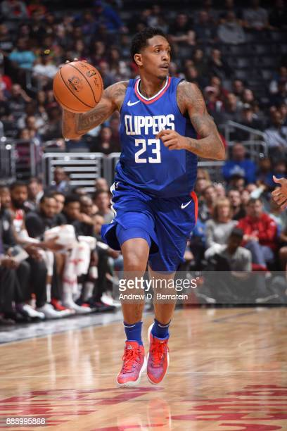 Lou Williams of the LA Clippers handles the ball during the game against the Washington Wizards on December 9 2017 at STAPLES Center in Los Angeles...