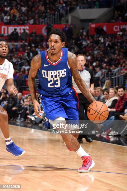 Lou Williams of the LA Clippers handles the ball during the game against the New York Knicks on March 2 2018 at STAPLES Center in Los Angeles...