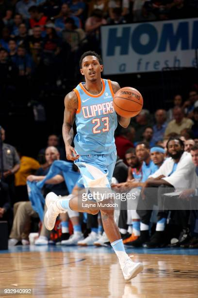 Lou Williams of the LA Clippers handles the ball during the game against the Oklahoma City Thunder on March 16 2018 at Chesapeake Energy Arena in...