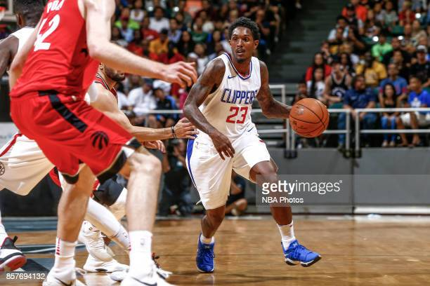 Lou Williams of the LA Clippers handles the ball during the preseason game against the Toronto Raptors on October 4. 2017 at the Stan Sheriff Center...