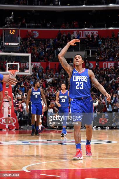 Lou Williams of the LA Clippers reacts during the game against the Washington Wizards on December 9 2017 at STAPLES Center in Los Angeles California...